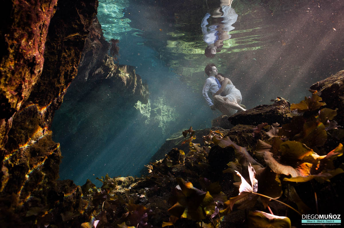 underwater trash the dress riviera maya, tulum, playa del carmen, mexico