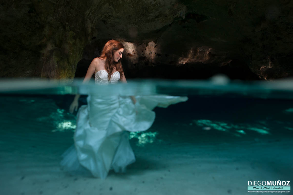 Underwater Trash The Dress Wedding Photographer Tulum Playa Del Carmen